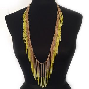 BCBG NECKLACE CHAIN FRINGE GOLD TONED NEON YELLOW